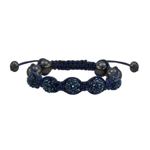 Shamballa Blue and Navy Crystal Bracelet Macrame