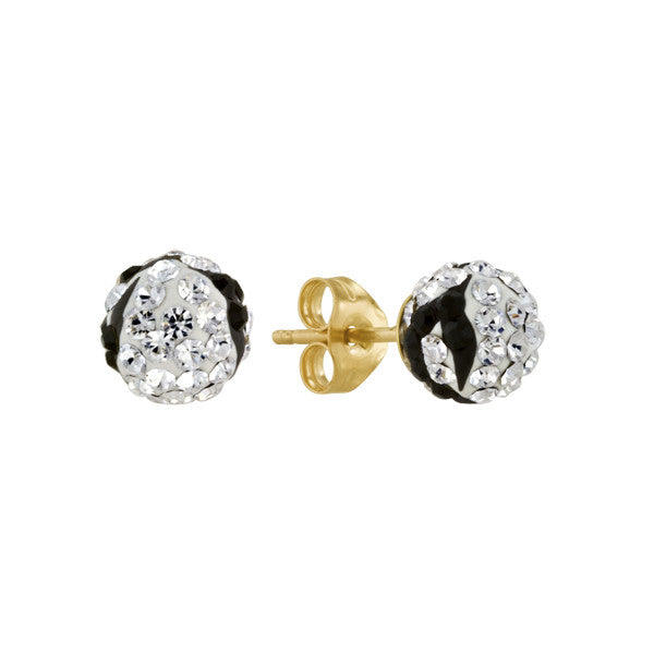Shamballa Earrings Black and White Crystal 14kt Gold