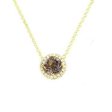 White Topaz in Rose Gold and Diamond Solitaire Necklace