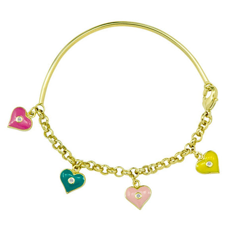 Soft Bangle with Enamel Hearts for Little Girls and Babies