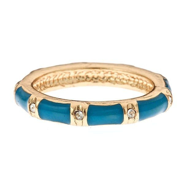 Stackable Enamel and Vermeil Rings By Fornash Blue