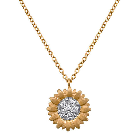 Skull and Bones Necklace in Yellow Gold and Diamond