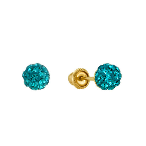 Turquoise Shamballa Stud Earrings in 14kt Gold
