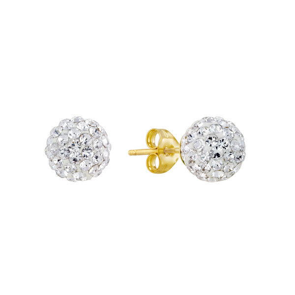 White Crystal Shamballa Stud Earrings