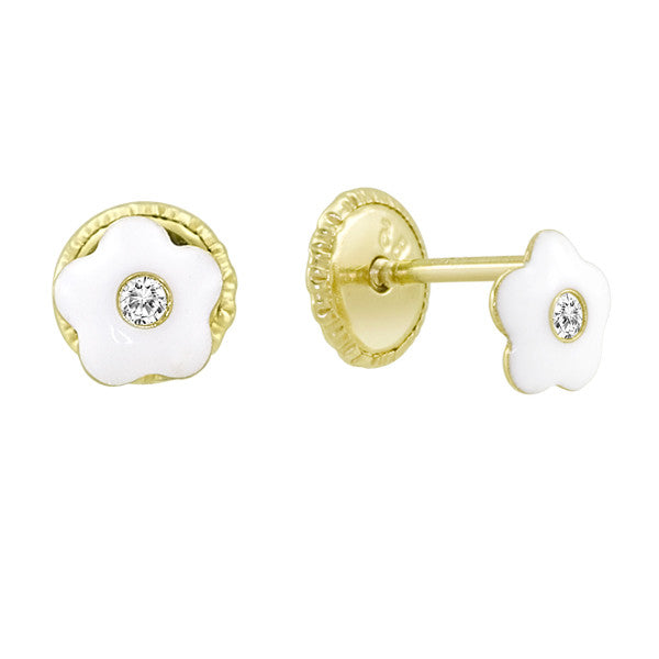 White Enamel Flower Earings