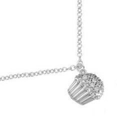 White Gold and Diamond Cupcake Necklace