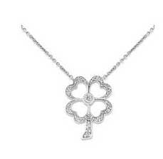 White Gold and Diamond Four Leaf Clover Necklace