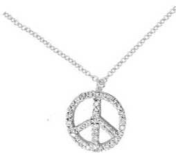 White Gold and Diamond Peace Sign Necklace