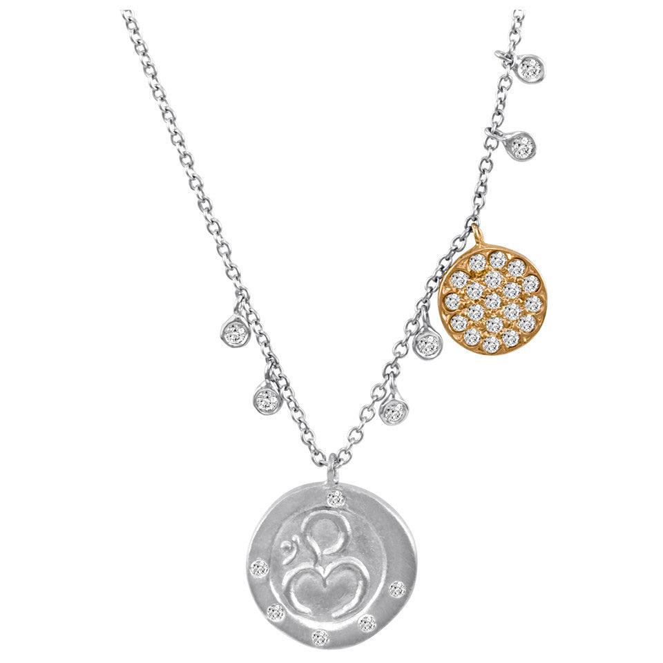 Lace White Gold and Diamond Disc Circle Pendant