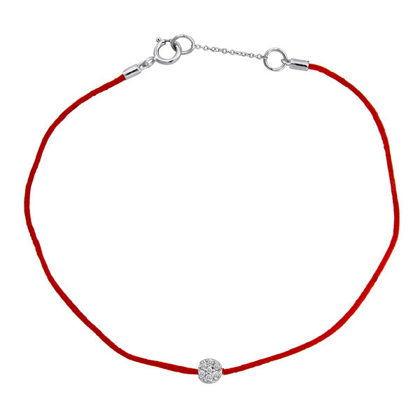 Red String Bracelet with Diamond Disc Accent