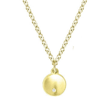 Yellow Gold Baby Initial Disc Diamond Accent