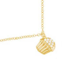 Yellow Gold Diamond Cupcake Necklace