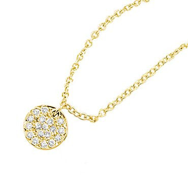 Hammered Yellow Gold and Diamond Disc Necklace