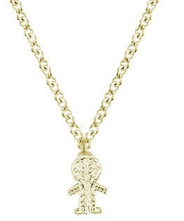 Yellow Gold Little Boy Charm Diamond Necklace