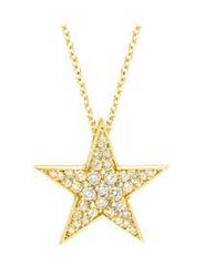 Yellow Gold Star Pendant Diamond
