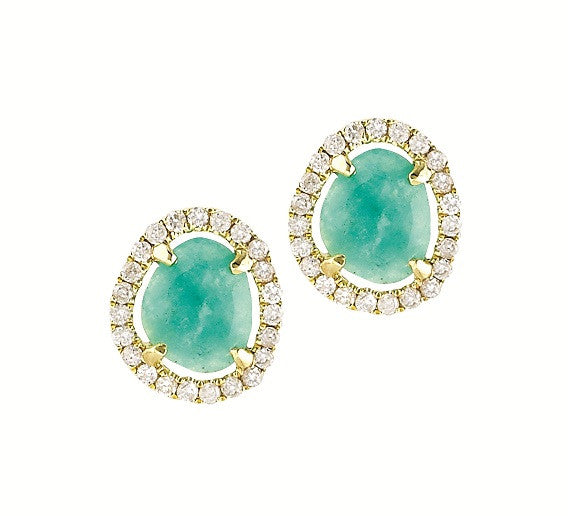 Amazonite Slice Stud Earrings in Yellow Gold and Diamonds