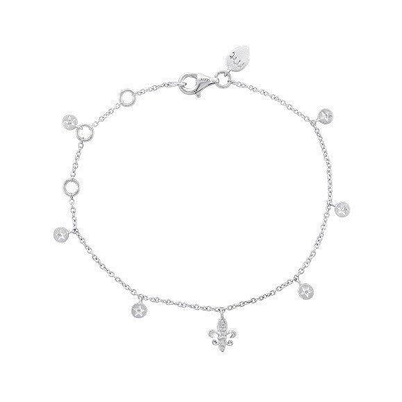 Silver and Diamond Star Fleur de Lis Bracelet