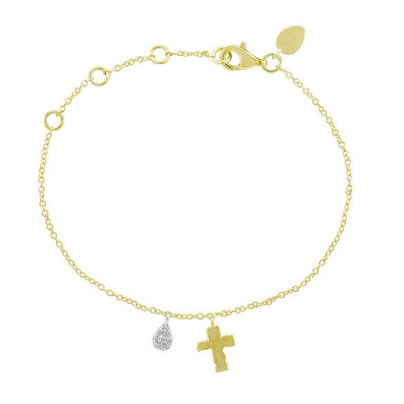 Vermeil and Diamond Silver Cross Charm Bracelet