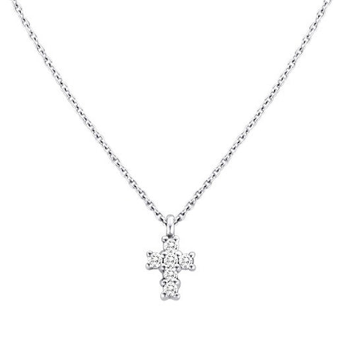 Baby Diamond Cross Necklace White Gold