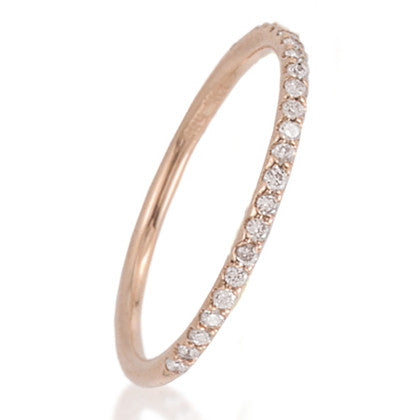 Diamond Anniversary Band Ring in Rose Gold Half Way