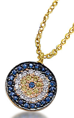 Diamond and Sapphire Evil Eye Circle Necklace in Yellow Gold