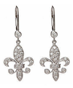 Fleur de Lis Earrings in Diamond and White Gold