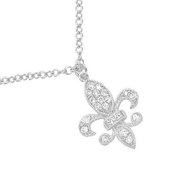 Diamond Fleur de Lis Necklace in White Gold with Diamonds