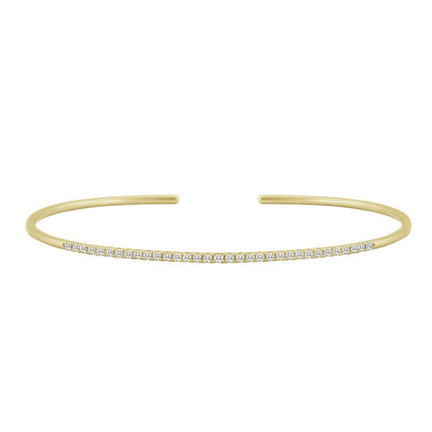 Diamond Bangle Cuff Yellow Gold