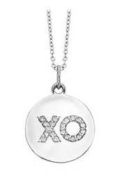 """XO"" Diamond Hug and Kiss Disc Necklace"