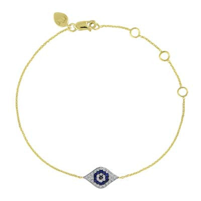 Evil Eye Bracelet in Diamonds and Blue Sapphires