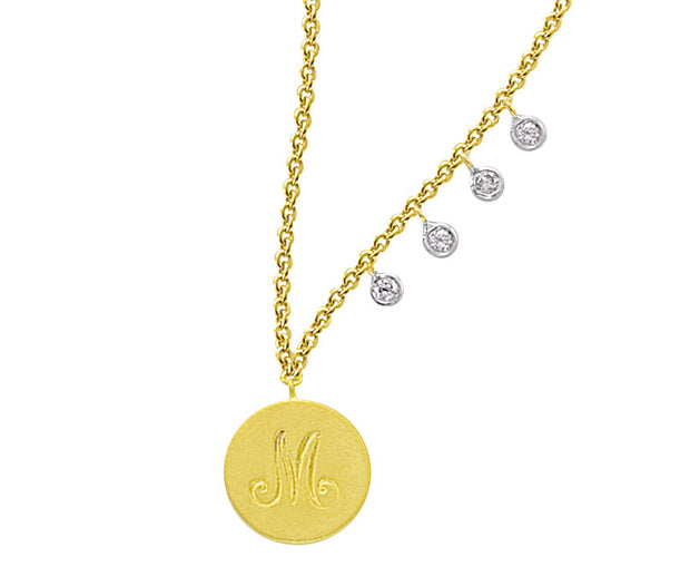 Monogram Disc Initial Necklace with Diamond Bezel Accents