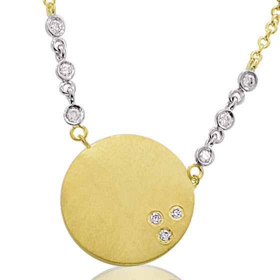 Gold and Diamond Disc Necklace