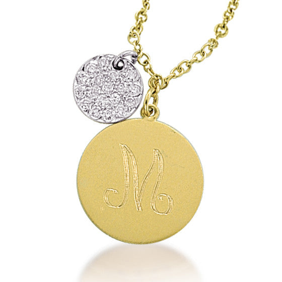 Monogram Necklace with Diamond Disc