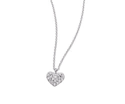 Baby Heart Pave Diamond Necklace in White Gold