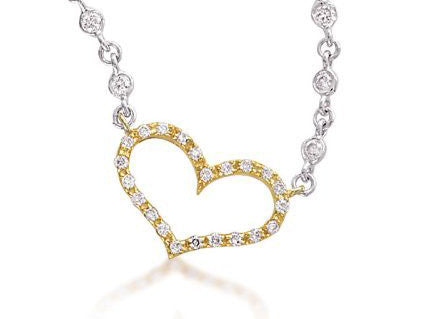 Diamond Heart with Bezel Set Chain 14K  Gold