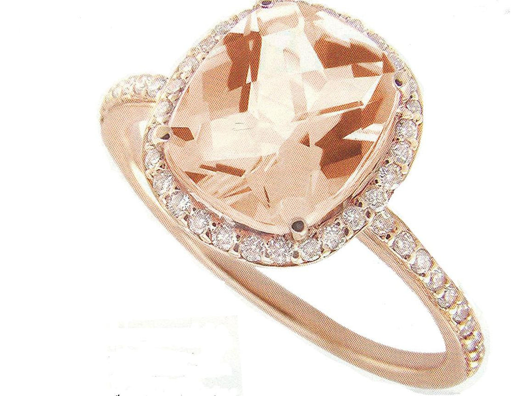 14K Rose Gold 3.82 ct Cushion-cut Morganite Diamond Ring