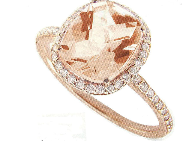 Cushion-cut Morganite Diamond Ring 14k Rose Gold