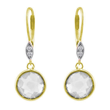 Yellow Gold White Topaz Circle Long Drop Earrings