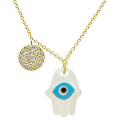 Mother of Pearl, Turquoise, Onyx Evil Eye Hamsa with Pave Disc Necklace in Yellow Gold