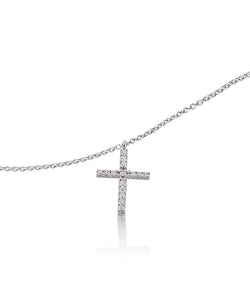 Classic White Gold Prong Set Diamond Cross