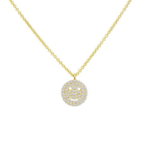 Yellow Gold Smiley Face Necklace