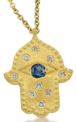 Blue Sapphire Hamsa in Yellow Gold and Diamonds