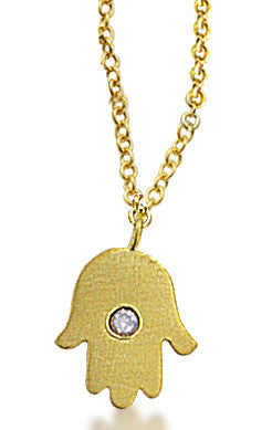 Yellow Gold Hamsa and Diamond Pendant Necklace