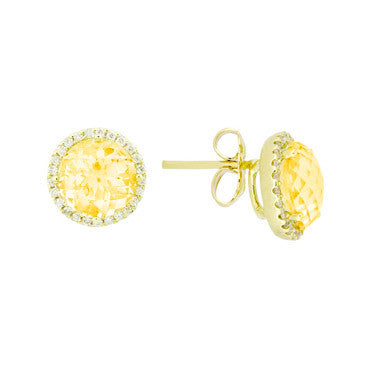 Citrine and Diamond Stud Earrings