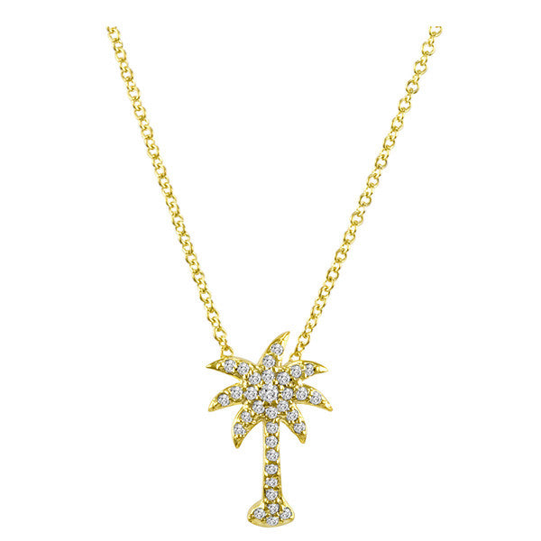Palm Tree Necklace in White Gold and Diamond