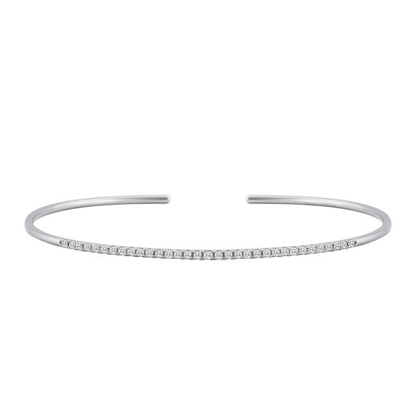Cuff Bangle in White Gold and Diamond