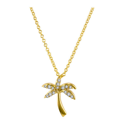 Yellow Gold Palm Tree Diamond Necklace