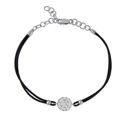 Diamond  Disc with Leather Bracelet Adjustable Chain