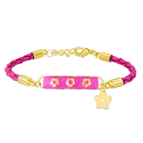 Little Girls Leather and Vermeil Enamel ID Bracelet by Lauren Klein