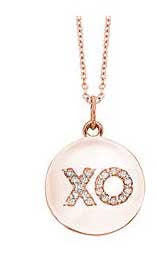 """XO"" Diamond Hug and Kiss on Rose Gold Disc Necklace"
